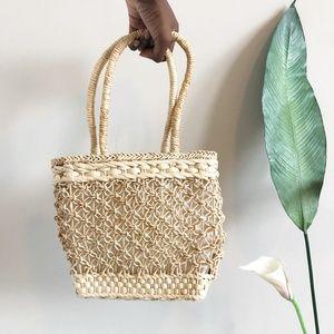 Vintage Woven Straw Summer Beach Handbag